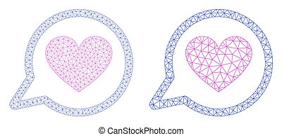Love Message Icon - Vector Polygonal Mesh
