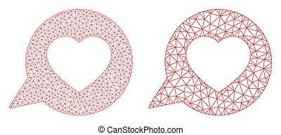 Love Message Icon - Vector Triangular Mesh