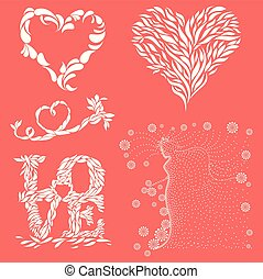 Love mnemonics in Living Coral color - Five abstract vector...