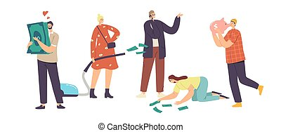 Love Money, Greed, Cupidity Concept. Greedy Male and Female Characters Excited to Gain Money, Hugging Piggy Bank and Dollar Bills, Businesswoman with Vacuum Cleaner. Cartoon People Vector Illustration