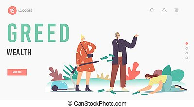 Love Money, Greed Wealth, Cupidity Landing Page Template. Greedy Characters Excited to Gain Money, Gripping Dollar Bills from Ground with Hands and Vacuum Cleaner. Cartoon People Vector Illustration