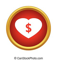 Love money icon, simple style