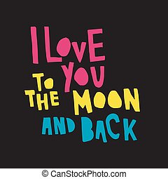 love moon back color bl - vector illustration, hand drawn...