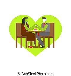 love., mort, zombi, cafe., rendez-vous, date, table, woman., prise, hands., homme