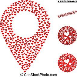 Love Mosaic Local Map Marker and Grunge Stamps for Valentines