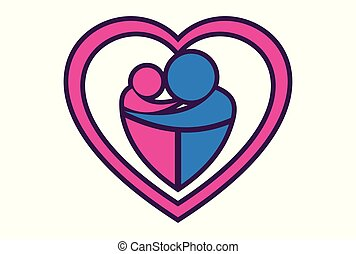 love mother and child logo icon