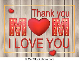 Love Mother day card Vector. Wood texture backgrounds
