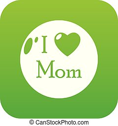 Love mother icon green vector