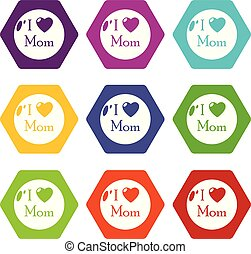 Love mother icons set 9 vector