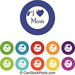 Love mother icons set vector color