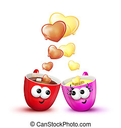 Love Mugs Hot Chocolate and Eggnog - Cartoon digitally...