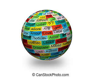LOVE Word Cloud printed on colorful 3d sphere different languages