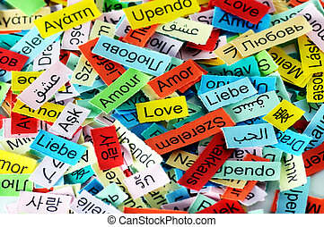 LOVE Word Cloud printed on colorful paper different languages