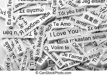 Love Word Cloud printed on paper different languages