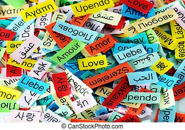 love multilingual word - LOVE Word Cloud printed on colorful...