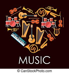 Love music heart made up of musical instruments
