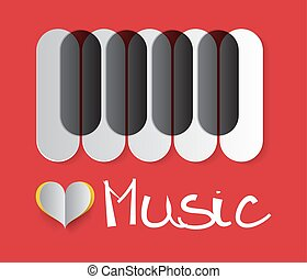 Love Music Vector Illustration with Piano Keyboard and Paper Heart on Red Background