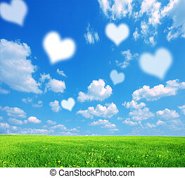 Love nature background, with white symbolic hearts on sky