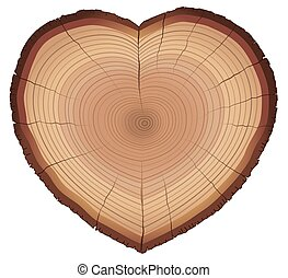 Love Nature Wood Rings Heart Shaped