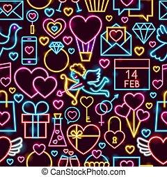 Love Neon Seamless Pattern