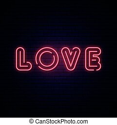 Love neon sign. Bright signboard.