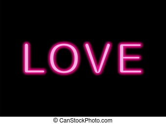 Love neon sign on black background