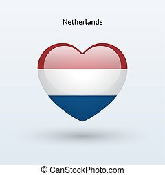 Love Netherlands symbol. Heart flag icon.