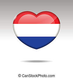 Love NETHERLANDS symbol. Heart flag icon.