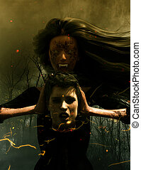 Love never dead - 3d illustration of Ghost woman with head ...