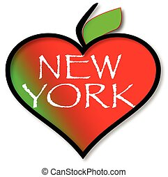 A heart shaped apple ith the text New York all isolated on a white background