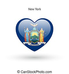 Love New York state symbol. Heart flag icon.