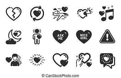 Love night, Hearts and Honeymoon travel icons set. Update relationships, Broken heart and Heart signs. Vector