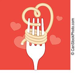 Love noodles eating food concept.
