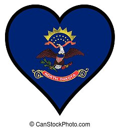 Love North Dakota - North Dakota state flag within a heart ...