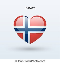 Love Norway symbol. Heart flag icon.
