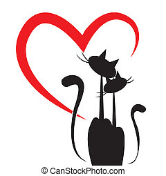 love of cats - two cats in love with a big heart in the...