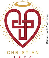 Love of God conceptual symbol combined with Christian Cross...