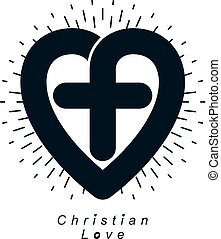 Love of God vector creative symbol design combined with...