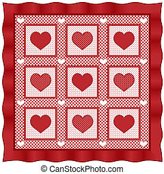Love of Hearts quilt, old fashioned traditional pattern in Valentine red and white gingham and polka dots with satin border. EPS8 compatible.