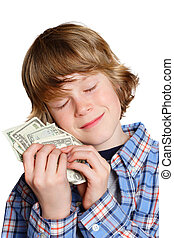 Love of Money - A boy hugging his money