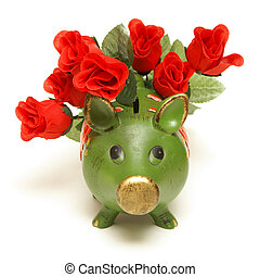 Love of Money - A pig bank and red roses represent the love...
