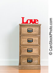 Love on bedside table