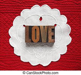 love on linen doily