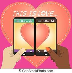 Love on Mobile. Vector illustration of smart phone.