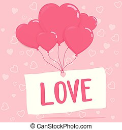 love on paper with heart balloons vector