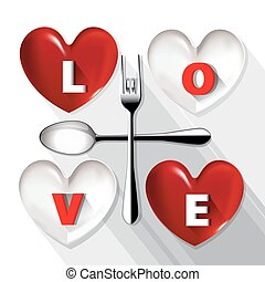LOVE on Red and White plate.