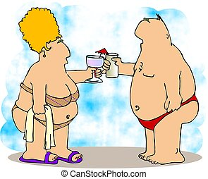 Love on the beach - This illustration depicts a chubby man...