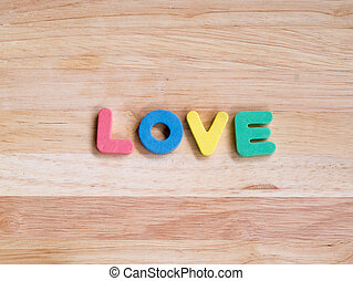 love on wooden background, Valentines Day background
