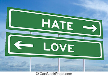 love or hate concept on the road signpost, 3D rendering