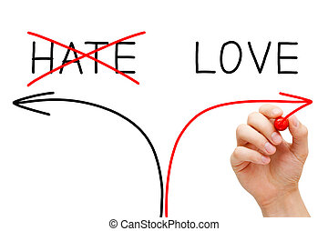 Hand drawing Love concept with marker on transparent wipe board. Choosing Love instead of Hate.